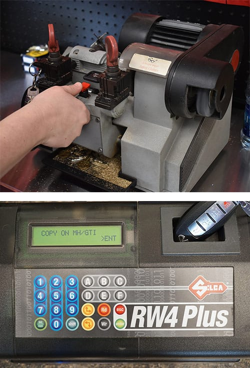 Photos of a key cutter (top) and a remote/fob programmer (bottom)
